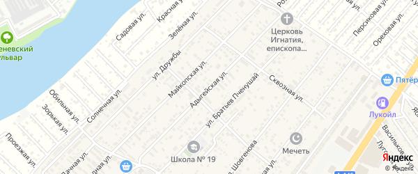 Адыгейская улица на карте аула Новой Адыгеи Адыгеи с номерами домов