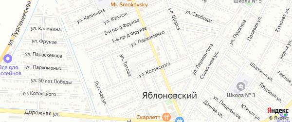 Черноморский 1-й проезд на карте Яблоновского поселка Адыгеи с номерами домов