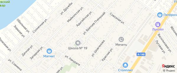 Совхозный переулок на карте аула Новой Адыгеи Адыгеи с номерами домов