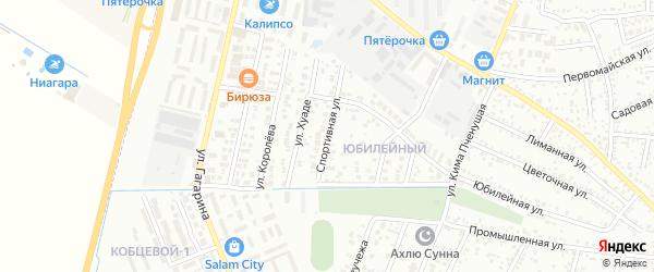 Спортивная улица на карте Яблоновского поселка с номерами домов