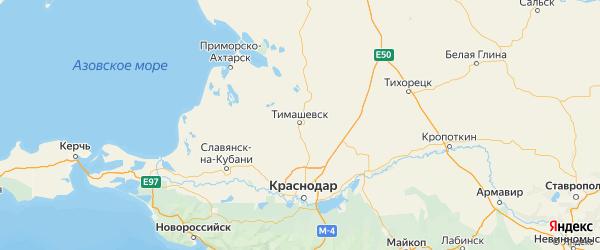 Карта Тимашевского района Краснодарского края с городами и населенными пунктами