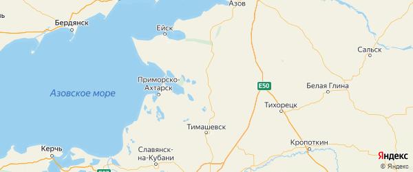 Карта Каневской района Краснодарского края с городами и населенными пунктами