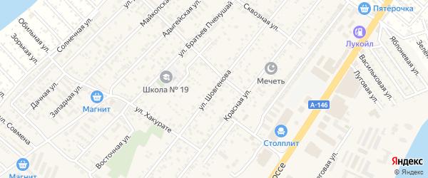 Улица Шовгенова на карте аула Новой Адыгеи с номерами домов