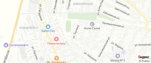Улица Теучежа на карте Яблоновского поселка Адыгеи с номерами домов