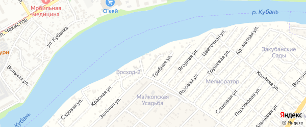 Калиновая улица на карте Мелиоратора Адыгеи с номерами домов