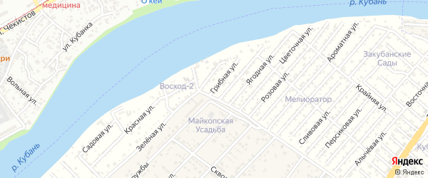 Грибная улица на карте Мелиоратора Адыгеи с номерами домов