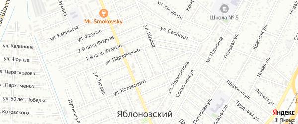 Пархоменко 1-й проезд на карте Яблоновского поселка Адыгеи с номерами домов
