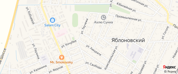 Олимпийский переулок на карте Яблоновского поселка Адыгеи с номерами домов