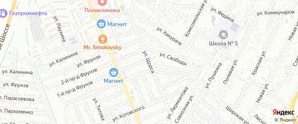 Улица Щорса на карте Яблоновского поселка Адыгеи с номерами домов