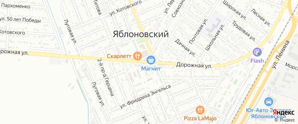 Дорожная улица на карте Яблоновского поселка Адыгеи с номерами домов