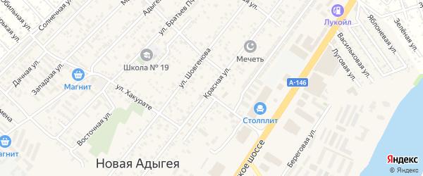 Красная улица на карте Мелиоратора Адыгеи с номерами домов