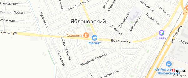 Дорожная дорога на карте Яблоновского поселка с номерами домов