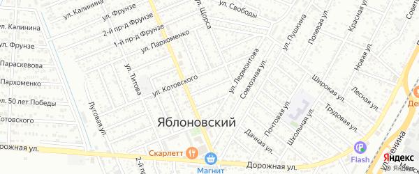 Котовского 2-й проезд на карте Яблоновского поселка Адыгеи с номерами домов