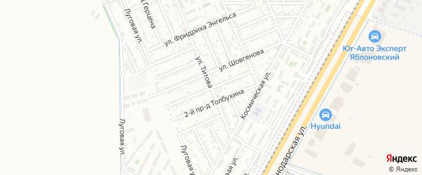 Толбухина 1-й проезд на карте Яблоновского поселка Адыгеи с номерами домов