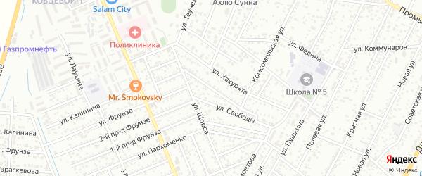Рабочий переулок на карте Яблоновского поселка Адыгеи с номерами домов