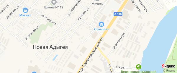Шоссейная улица на карте аула Новой Адыгеи Адыгеи с номерами домов