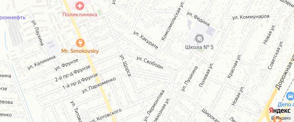 Улица Свободы на карте Яблоновского поселка Адыгеи с номерами домов
