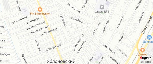Лермонтова 1-й проезд на карте Яблоновского поселка Адыгеи с номерами домов