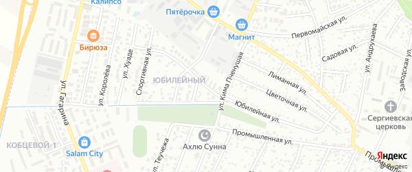 Юбилейная улица на карте Яблоновского поселка Адыгеи с номерами домов