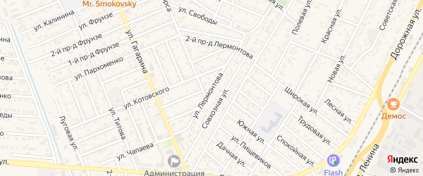 Улица Лермонтова на карте Яблоновского поселка Адыгеи с номерами домов