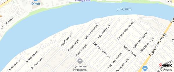 Цветочная улица на карте Мелиоратора Адыгеи с номерами домов