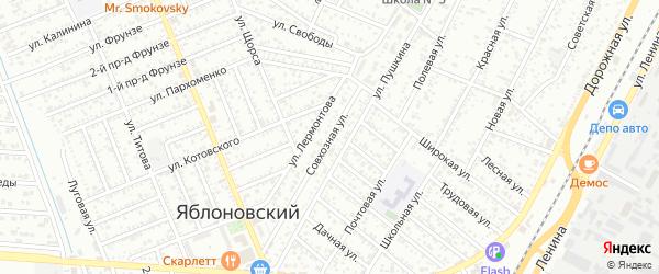 Совхозная улица на карте Яблоновского поселка Адыгеи с номерами домов