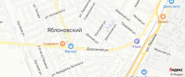 Дачная улица на карте Яблоновского поселка Адыгеи с номерами домов