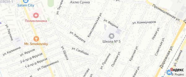 Пролетарский переулок на карте Яблоновского поселка Адыгеи с номерами домов