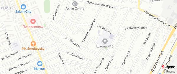Пролетарская улица на карте Яблоновского поселка Адыгеи с номерами домов