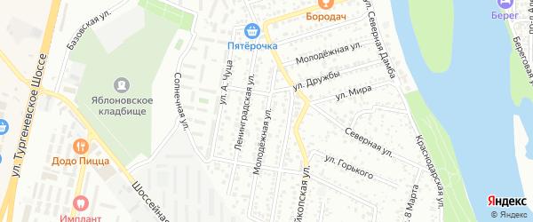 Молодежная улица на карте Яблоновского поселка Адыгеи с номерами домов