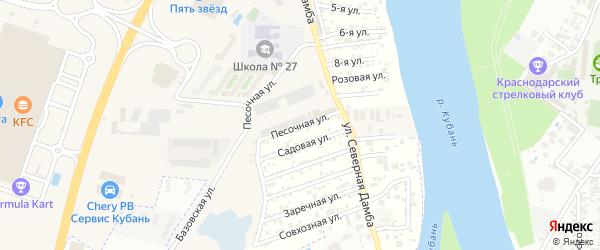 Песочная улица на карте аула Новой Адыгеи Адыгеи с номерами домов