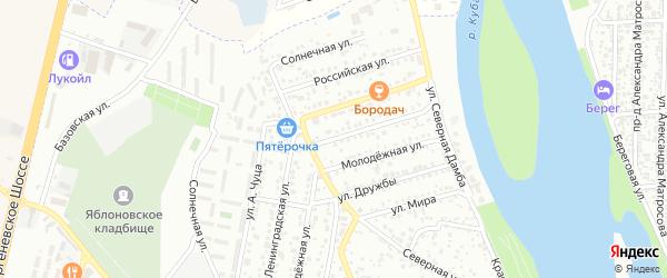 Ленинградская улица на карте Яблоновского поселка Адыгеи с номерами домов