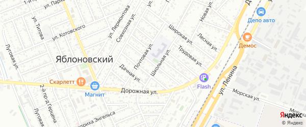 Южная улица на карте Яблоновского поселка Адыгеи с номерами домов