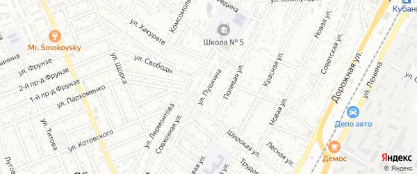 Улица Пушкина на карте Яблоновского поселка Адыгеи с номерами домов