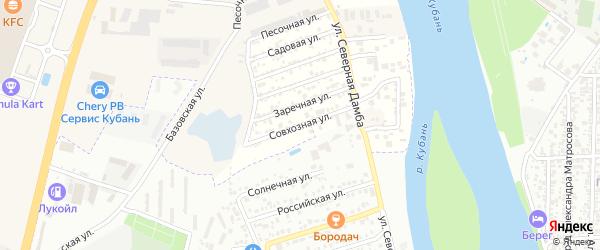 Совхозная улица на карте Зори Кубани Адыгеи с номерами домов