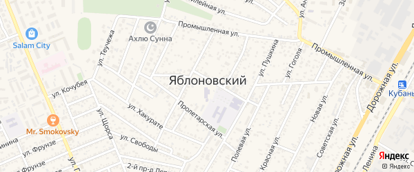 Заводской переулок на карте Яблоновского поселка Адыгеи с номерами домов