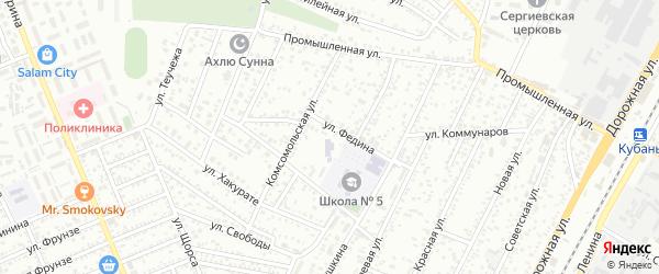 Крайняя улица на карте Яблоновского поселка Адыгеи с номерами домов