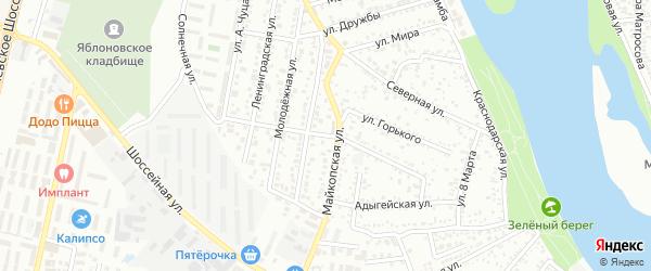 Колхозная улица на карте Яблоновского поселка Адыгеи с номерами домов