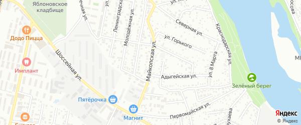 Майкопская улица на карте Яблоновского поселка Адыгеи с номерами домов