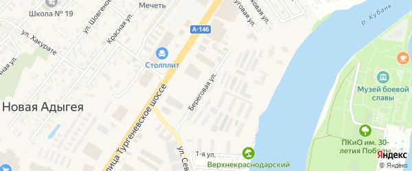 Береговая улица на карте аула Новой Адыгеи Адыгеи с номерами домов