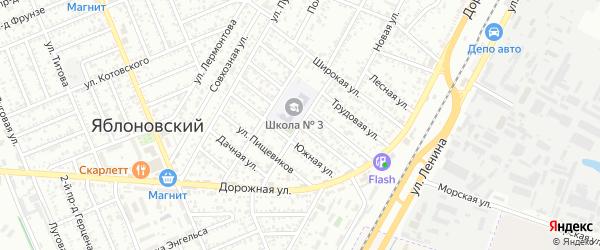 Спокойная улица на карте Яблоновского поселка Адыгеи с номерами домов