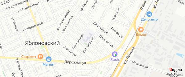 Кубанская улица на карте Яблоновского поселка Адыгеи с номерами домов