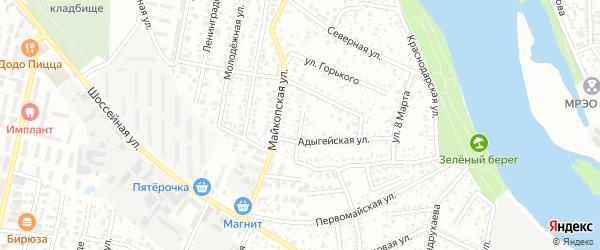 Колхозный переулок на карте Яблоновского поселка Адыгеи с номерами домов