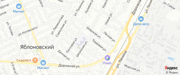 Трудовая улица на карте Яблоновского поселка Адыгеи с номерами домов