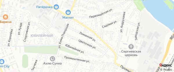 Лиманная улица на карте Яблоновского поселка Адыгеи с номерами домов