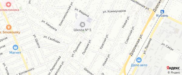 Полевая улица на карте Яблоновского поселка с номерами домов