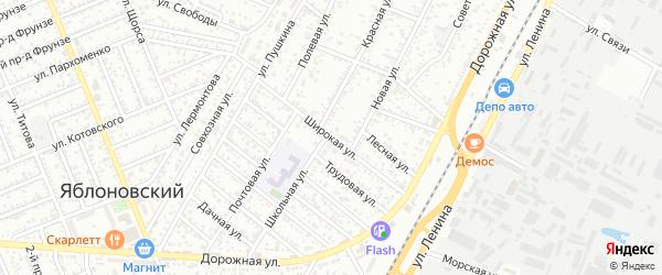 Широкая улица на карте Яблоновского поселка Адыгеи с номерами домов