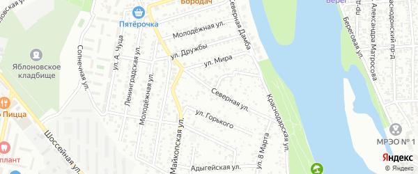 Северная улица на карте Яблоновского поселка Адыгеи с номерами домов
