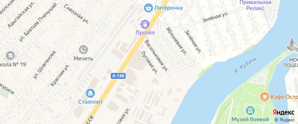 Луговая улица на карте Заречного Адыгеи с номерами домов