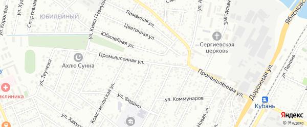 Промышленная улица на карте Яблоновского поселка Адыгеи с номерами домов